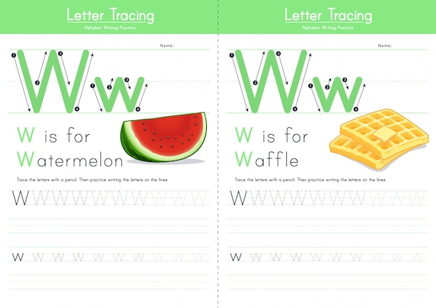 Letter w tracing food alphabet