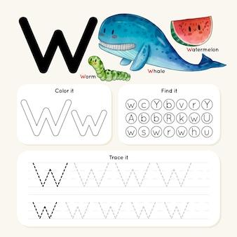 Letter w-werkblad met dieren Premium Vector