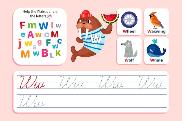 Letter w-werkblad met walrus