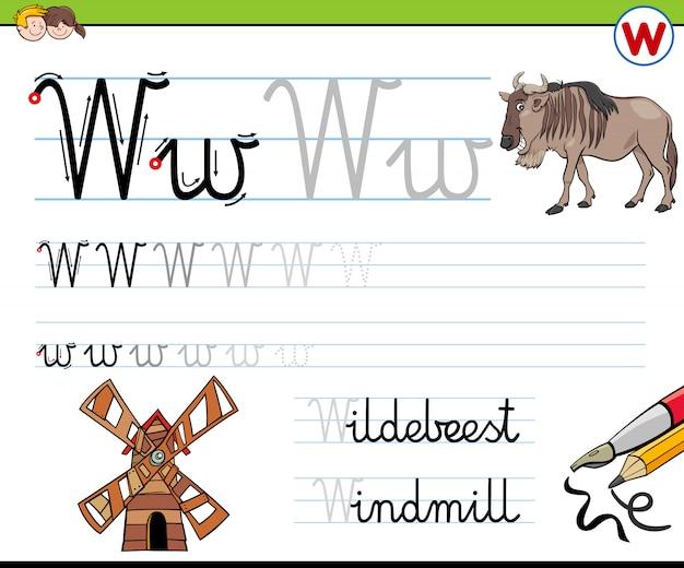 Letter w-werkblad voor kinderen schrijven