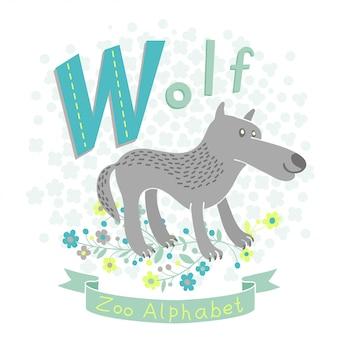 Letter w - wolf illustratie