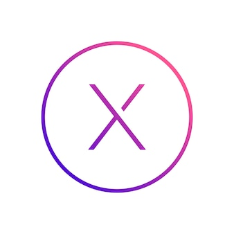 Letter x alfabet binnen cirkel pictogram ontwerp