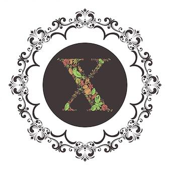 Letter x eerste met florale vector