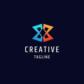 Letter x eerste monogram kleurrijke gradiënt logo pictogram ontwerpsjabloon