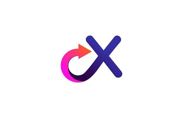 Letter x gekoppeld combineert stijlvol trendy pijllogo