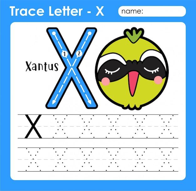 Letter x hoofdletters - alfabetletters overtrekken werkblad met xantus