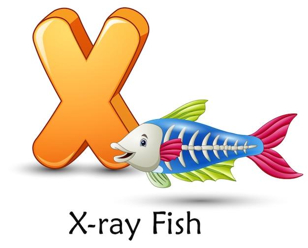 Letter x is voor x-ray vis cartoon alfabet