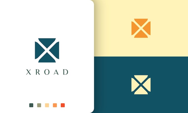 Letter x-logo in witruimte en moderne stijl