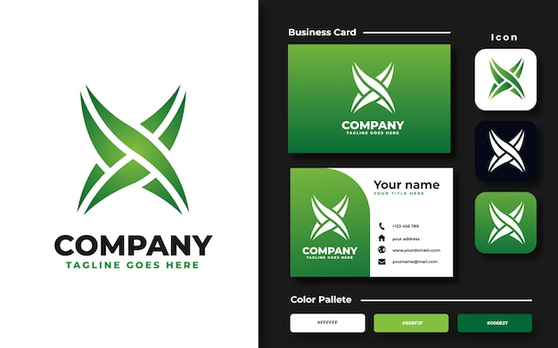 Letter x-logo sjabloon en visitekaartje