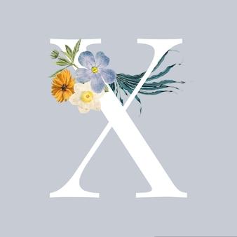 Letter x met bloemen Gratis Vector