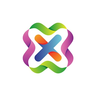 Letter x met kleurrijke golven logo vector