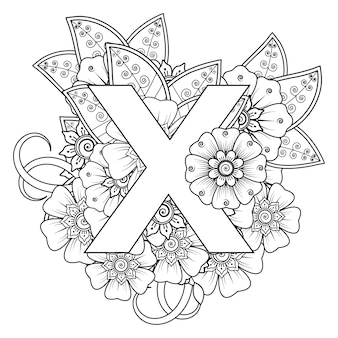 Letter x met mehndi bloem decoratief ornament in etnische oosterse stijl kleurboekpagina