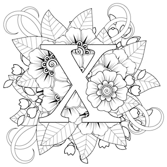 Letter x met mehndi bloem decoratief ornament in etnische oosterse stijl kleurplaat coloring