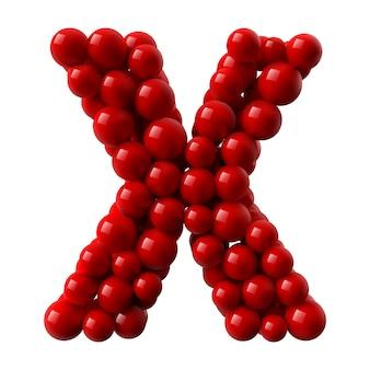 Letter x met rood gekleurde glanzende ballen. realistische afbeelding.