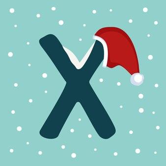 Letter x met sneeuw en rode kerstman hoed. feestelijk lettertype voor kerstmis en nieuwjaar