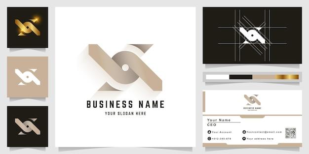Letter x of o monogram logo met visitekaartje ontwerp