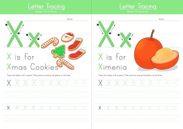 Letter x tracering voedsel alfabet