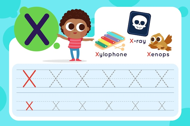Letter x-werkblad met xylofoon en röntgenfoto