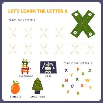 Letter x-werkblad voor kinderen