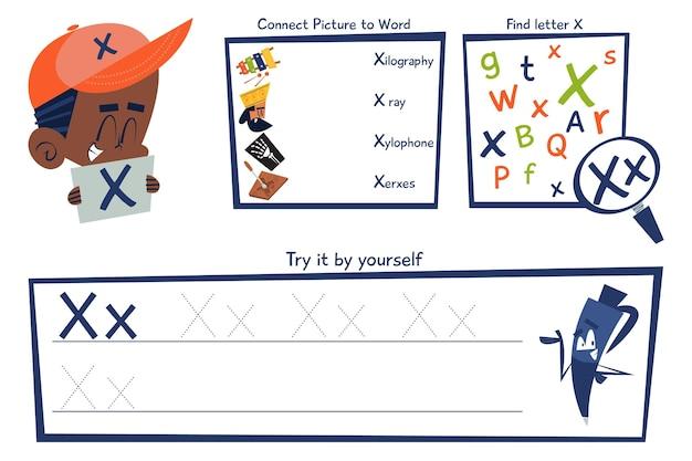 Letter x-werkbladsjabloon