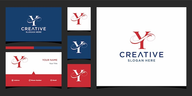 Letter y elegant logo-ontwerp met visitekaartjeontwerp Premium Vector