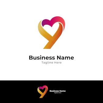Letter y en hart of liefde vorm creatief logo concept