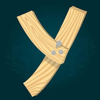 Letter y - gestileerde vector lettertype gemaakt van houten planken gehamerd met ijzeren spijkers.