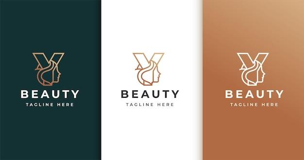 Letter y-logo-ontwerp met het gezicht van de vrouw