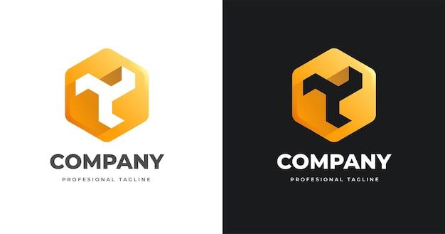 Letter y-logo ontwerpsjabloon met geometrische vormstijl