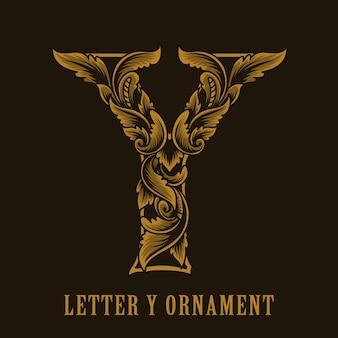 Letter y-logo vintage ornamentstijl