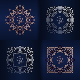 Letter y met bloemenframe logo sjabloon