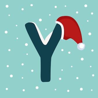 Letter y met sneeuw en rode kerstman hoed. feestelijk lettertype voor kerstmis en nieuwjaar