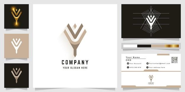 Letter y of yv monogram logo met visitekaartje ontwerp