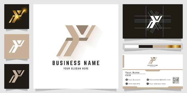 Letter y of zoals mensen voeren een monogramlogo uit met een visitekaartjeontwerp