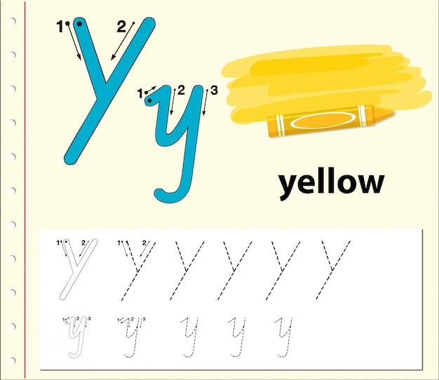 Letter y tracing alfabet werkbladen