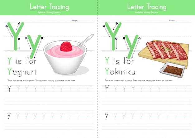 Letter y tracing food alphabet