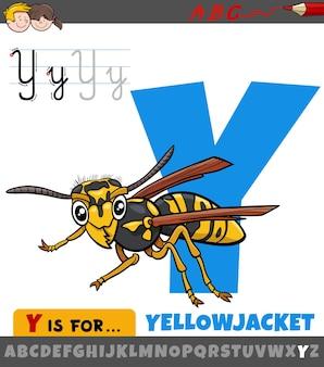 Letter y uit alfabet met cartoon yellowjacket insect