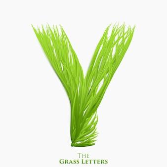 Letter y van sappig gras alfabet.