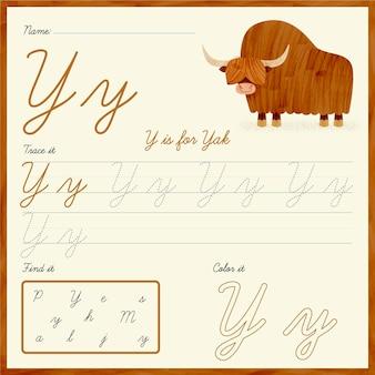Letter y-werkblad met jak