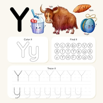 Letter y-werkblad met verschillende items