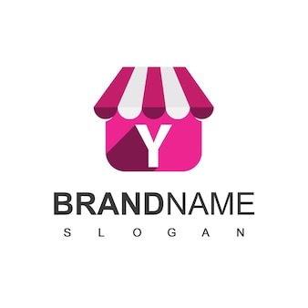 Letter y winkel logo ontwerpsjabloon, online winkel symbool.