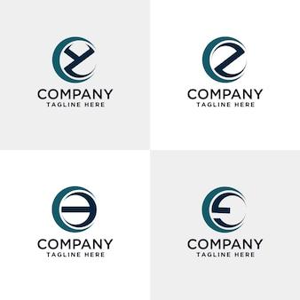 Letter yz en symbolen modern logo binnen de cirkel