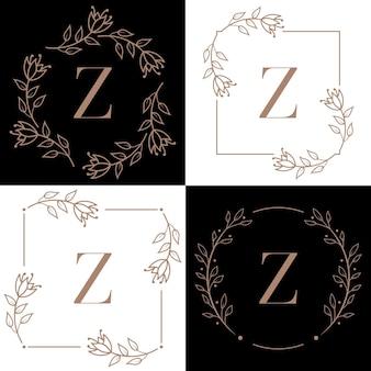Letter z logo-ontwerp met orchidee bladelement