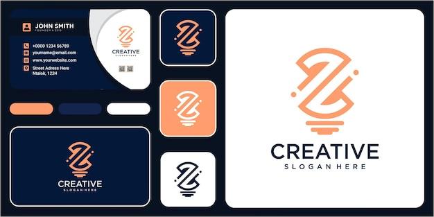 Letter z met lamp idee logo ontwerp inspiratie met visitekaartje