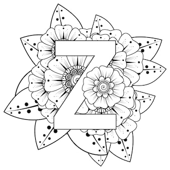Letter z met mehndi bloem decoratief ornament in etnische oosterse stijl kleurboekpagina