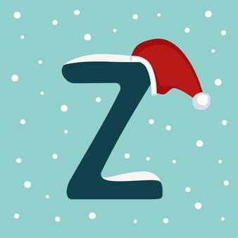Letter z met sneeuw en rode kerstman hoed. feestelijk lettertype voor kerstmis en nieuwjaar