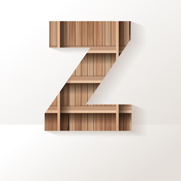 Letter z-ontwerp van houten plank