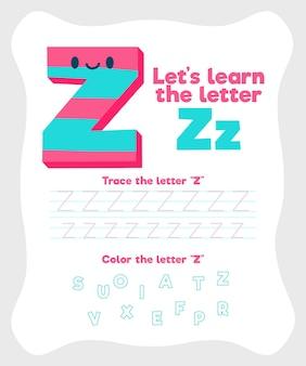 Letter z uit alfabet werkblad