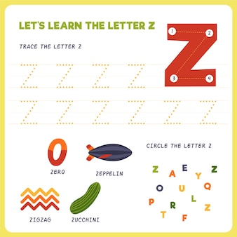 Letter z-werkblad voor kinderen