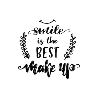 Lettering smile is de beste make-up. vector illustratie.